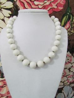 SALE Necklace Monet Vintage White Beads by VintagePolkaDotcom, $19.00 #vintagemonetnecklace #monetnecklace #vintagejewelry