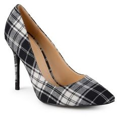 Women's Journee Collection Lorna Plaid Pointed Toe Pumps