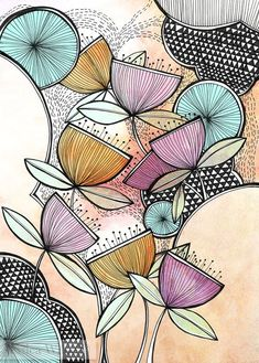 Illustration Art Print Zen Garden Illustration Art Print Garden Illustration Art Print Night Sky Lisboa Floral by Gill Eggleston Jessica Wilde -Surface Pattern Designer & Illustrator Mandala Design, Mandala Art, Zentangle Drawings, Doodle Drawings, Doodle Art, Zentangles, Art And Illustration, Flower Doodles, Zen Art