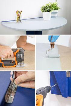 Cómo hacer una mesa abatible  ➜ Hazte una mesa plegable con tableros de madera y bisagras. ¡Perfecta para pisos pequeños!  #DIY #Bricolaje #Handmade #Mesa #Abatible #Plegable