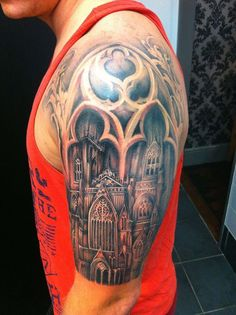 Custom Architecture design.  Proudly sponsored by Body Shock tattoo supplies.