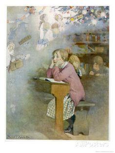 The Schoolgirl at Her Desk Day-Dreams of the Pleasures of the Christmas Holidays Lámina giclée por Honor C. Appleton en AllPosters.es