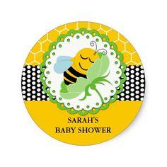 Etiquetas personalizadas chá de fraldas da abelha adesivos redondos