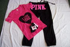 """Cute """"PINK"""" workout shirt and capris. Winter Mode Outfits, Winter Fashion Outfits, Love Fashion, Fashion Beauty, Pink Love, Cute Pink, Vs Pink, Pink Outfits, Cool Outfits"""