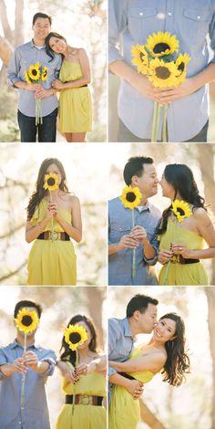 cute sunflower engagement