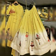 Siya Fashion Attractive Light Yellow-Off White Color Crepe Designer Lehenga Suit Indian Gowns Dresses, Indian Fashion Dresses, Indian Designer Outfits, Indian Outfits, Saree Fashion, Lehenga Suit, Silk Lehenga, Silk Dupatta, Yellow Lehenga