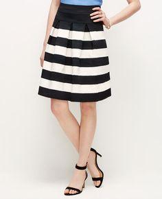 Petite Ribbon Stripe Full Skirt   Ann Taylor