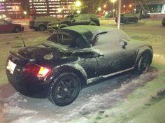 Audi TT Roadster in Quebec winter storm.