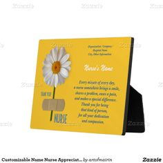 Thank you, Nurse. Nurse Appreciation Gift Plaque with customizable name and text. Perfect Gift for the Nurses Day / Nurses Week / Any Occasion , Event or Birthday for a special Nurse. Matching cards , cards in various languages and other products available in the Business Related Holidays / Healthcare Category of the artofmairin store at zazzle.com