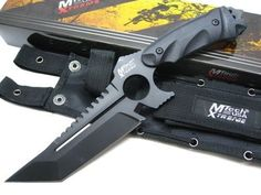 MTECH Xtreme Black TACTICAL FIGHTER Fixed Sawback TANTO Combat Knife! MTX8135 #Mtech