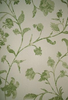 Coromandel Wallpaper A wallpaper with climbing floral design in decoupage style in green on beige