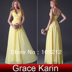 1pcs/lot Free Shipping Chiffon V-neck Dresses Bridesmaid Party Gown Yellow Flower Dresses CL3462