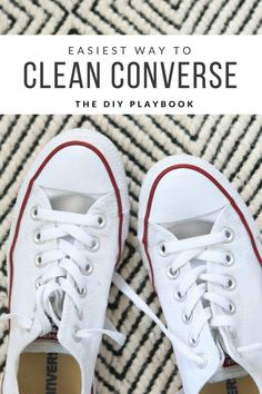 c8d3b62eb97 How to clean your converse gym shoes in the washing machine. Such an easy  way to take your dingy shoes to bright and white!