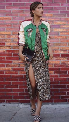green satin quilted jacket, bomber jacket in satin green with white and burgundy color blocking, Chloe bag, leopard print dress,