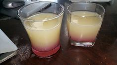 Tropical Sunshine. (For the colors, and my name is Sunshine!) It's a light, fruity drink, great for drinking on a hot day! (So, not as hardcore as some of the things you do on the regular) It's 5oz Pineapple juice (Dole brand usually), 5oz Banana Juice Puree (Granini brand usually), 5oz Coconut rum (I like Malibu or Cruzan), a splash of X-Rated and a pineapple to garnish if you'd like. First you stir together the Pineapple juice, Banana juice puree, and coconut rum. Then add a splash of…