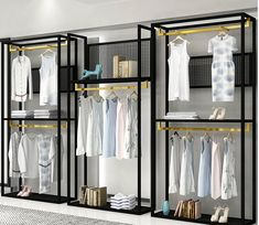 Clothing store display rack floor type men's and women's clothing shelf display rack new combination side hang. Clothing Store Displays, Clothing Store Interior, Clothing Store Design, Women's Clothing, Clothing Racks, Boutique Store Displays, Showroom Interior Design, Retail Interior, Boutique Decor