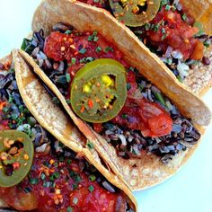 Wild rice tacos from the Engine 2 cookbook http://engine2diet.com/recipe/wild-rice-tacos/