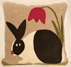 Springtime Rabbit Pillow [felted wool]