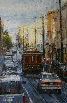 Trolley by Mark Lague Oil ~ x Street Photo, It Works, Fine Art, Gallery, Artwork, Painting, Oil, Image, Homework