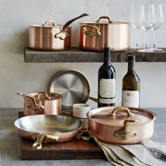 Mauviel M'brushed Copper 10-Piece Cookware Set | Sur La Table