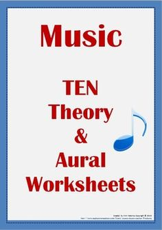 This is a set of TEN Theory and Aural Quiz Worksheets, each becoming more challenging There are TWO pages to each worksheet.  $