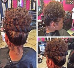 8 Updo Styles To Get Inspired By - Black Hair Information Ponytail Styles, Updo Styles, Curly Hair Styles, Natural Hair Styles, Natural Updo, Black Hair Updo Hairstyles, My Hairstyle, Girl Hairstyles, Bridal Hairstyles