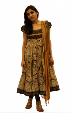 Fluid Print Silk Anarkali!    This silk anarkali is a perfect example of print on print on print.    For more,  http://www.czari.in/women