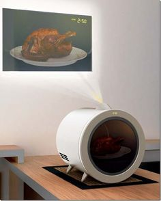 Instead of opening your microwave every 30 seconds to see if dinner is ready, this microwave projects a video image onto the wall so you can follow along from the other side of the room.