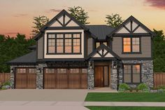 Check out this gorgeous exterior! A 4.062 sq. ft. traditional home, Plan 1022-00032 includes 6 bedrooms, 3 bathrooms, a bonus room, nook, and open floor plan.