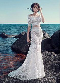 Buy discount Romantic Tulle & Lace Bateau Neckline Mermaid Wedding Dresses With Lace Appliques at Ailsabridal.com