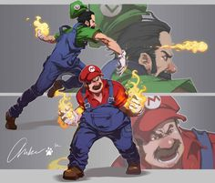 The classic game of Super Mario Brothers! See them in action as they save Princess Peach Mario and Luigi Super Mario Bros, Super Mario Brothers, Super Mario Kunst, Nintendo Characters, Video Game Characters, Mario Und Luigi, Video Game Art, Cartoon Art, Illustrations