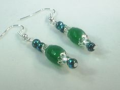 Emerald Gemstone Earrings Original Jewelry, One of a Kind Jewelry  8001MJ