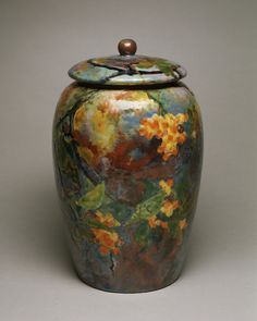 Covered jar (enamel on copper) between 1898 and 1907 by Tiffany and Company. Walters Art Museumvia Wikimedia.
