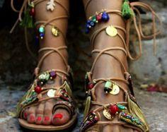 """Gladiator Sandalen, Boho Hippie Damenschuhe, griechische Ledersandalen, festbinden """"Athena 2"""""""