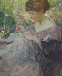The Athenaeum - Young Woman Sewing (Richard Edward Miller - No dates listed)