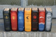 WINTER IS COMING! SET OF 2 bricks repurposed into your favorite fantasy novels. They make fantastic old book bookends but would also look amazing
