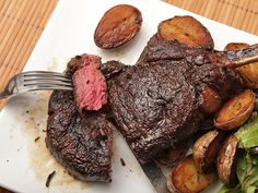 Butter-Basted Bison Rib Steaks with Crispy Fingerling Potatoes
