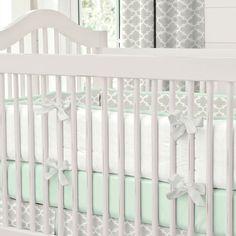 French Gray and Mint Quatrefoil Crib Bumper | Carousel Designs