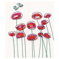 Papaveri rossi, riproduzione di acquerello, pittura di fiori, fiori astratti, farfalle, arte stampa