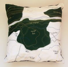 Ceredigion Relief Map Embroidered Cushion