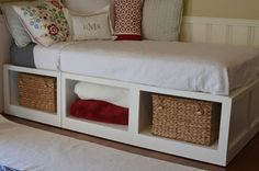 so cute, and a good use of space!  I so want to make something similar to this for my queen size bed!