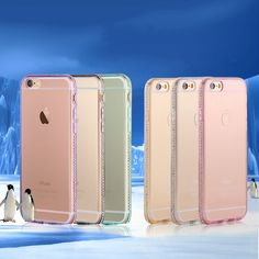 for iphone 6 6s Plus Thin Bling Rhinestone Diamond Soft TPU Clear Case for iphone 7 5S 5 SE Slim Back Crystal Transparent Cover