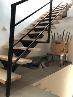 Home metal and wood stairs combo