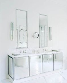 20 Awesome Mirrored Bathroom Vanity Cabinet Picture Ideas