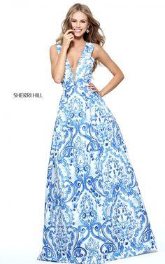 Sherri Hill 51014 Blue Print A Line Long Prom Dress