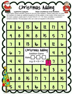 FREEBIE - Christmas Math Freebie by Games 4 Learning contains 4 printable Christmas Math Board Games.