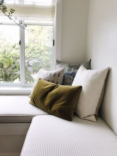 olive velvet pillow, neutral cushions, ticking fabric bench pads