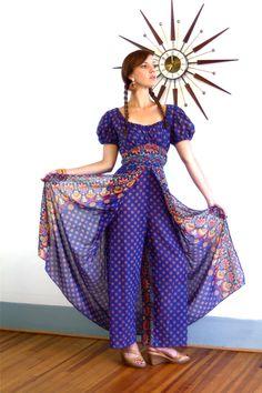 70s OnePiece Kaftan Vintage Indian Hippie Jumpsuit Harem Pants Split Skirt Onepiece Blue Cotton Paisley Print 1970s Ethnic Loungewear Adini by PosiesForLuluVintage on Etsy https://www.etsy.com/listing/246318820/70s-onepiece-kaftan-vintage-indian