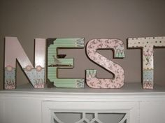 HUGE Shabby Chic Paper Mache Block LettersNESTpink by JCKEEVER, $38.00