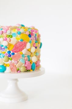 Go crazy and cover every square inch of a white cake with colorful candies.